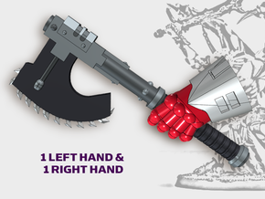 2x Goretran Axe - Demon Lord Weapons (L&R) in Smooth Fine Detail Plastic