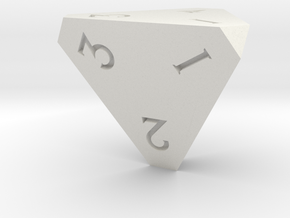 Sharp Edged d4 Die - Polyhedral Dice - 4 Sided Die in White Natural Versatile Plastic