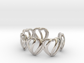 Heart Cage Bracelet (5 large hearts) in Platinum