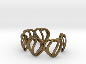 Heart Cage Bracelet (5 large hearts) in Natural Bronze