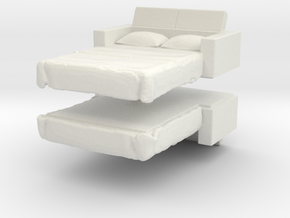 Sofa Bed (x2) 1/87 in White Natural Versatile Plastic