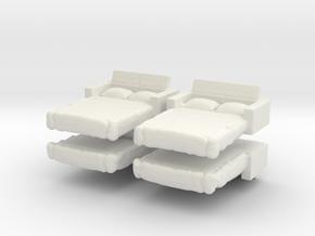 Sofa Bed (x4) 1/200 in White Natural Versatile Plastic
