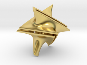Star Minimal Surface Pendant in Polished Brass: Small