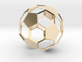 Soccer Ball - wireframe - 2 in 14k Gold Plated Brass