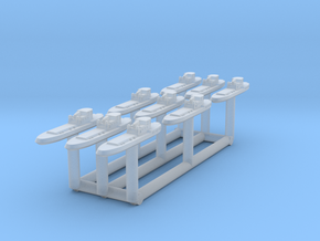 005I Tug Boat 1/3000 set of 9 in Smooth Fine Detail Plastic