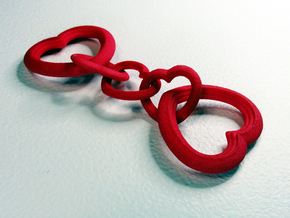 Valentine's Interlocking Hearts in Red Processed Versatile Plastic