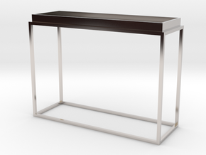 Miniature Tray Top Console Table in Rhodium Plated Brass