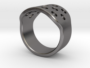 Round Holes Ring_C in Polished Nickel Steel: 8 / 56.75