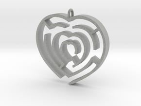 Heart maze pendant in Metallic Plastic