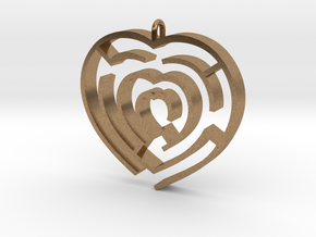 Heart maze pendant in Natural Brass