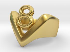 V8 Ring, Mens in Polished Brass