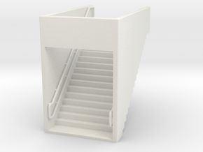 HO Platform Stairs H37 Down in White Natural Versatile Plastic