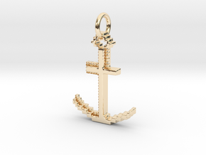 Gold Anchor Pendant Geek Video Game Jewelry Pixl B in 14K Yellow Gold