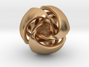 Twisted Geometric Pendant - Tetra-Sphere in Polished Bronze: Small