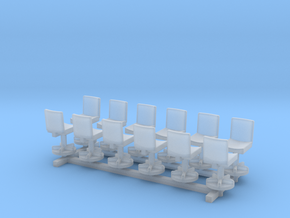 1:100 Office Chairs 12pc in Smooth Fine Detail Plastic