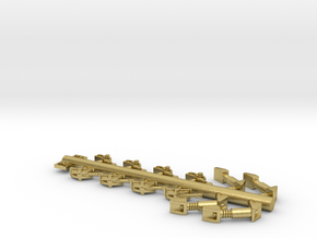 S Scale 2DF32 Brass Shock & Brake Shoes in Natural Brass
