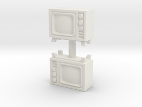 Old Television (x2) 1/76 in White Natural Versatile Plastic
