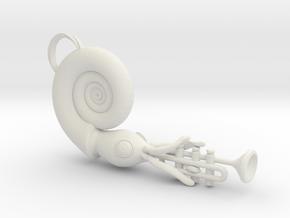 Nautilus Playing a Trumpet in White Natural Versatile Plastic