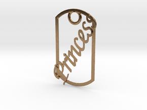 Princess dog tag in Natural Brass