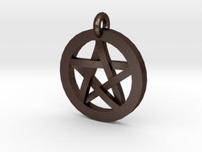 Pentacle Charm in Matte Bronze Steel