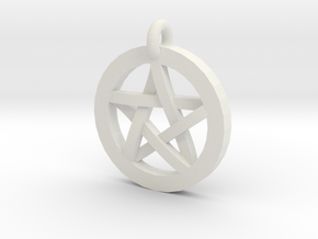 Pentacle Charm in White Natural Versatile Plastic