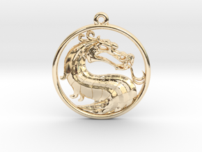 Dragon Medallion Necklace Symbol Jewelry in 14K Yellow Gold