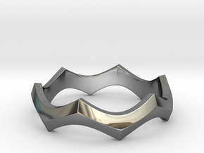 Wave Ring in Fine Detail Polished Silver: 11 / 64