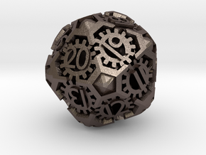 Steampunk spindown D20 hollow in Polished Bronzed-Silver Steel
