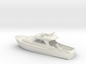 Yacht 01.HO Scale (1:87). without stern platform in White Natural Versatile Plastic