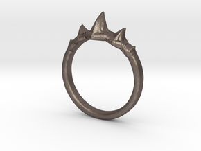 Dragon Spine Ring in Polished Bronzed-Silver Steel: 8 / 56.75