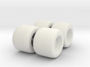 Mini Car 45mm Wheels (set of 4) in White Natural Versatile Plastic