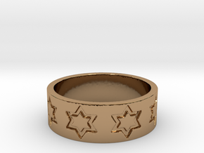51 STAR RING Ring Size 8.25 in Polished Brass