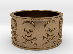 12 Skull and crossbones Ring Size 7.5 in Natural Brass