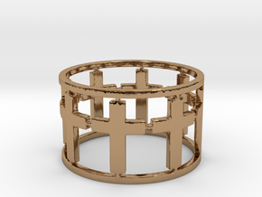 15 Cross Open Ring Size 7.5 in Polished Brass