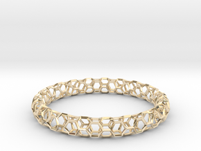 Honeycomb Bracelet in 14k Gold Plated Brass: Medium