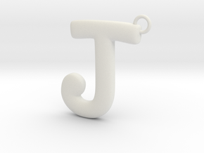 Cosplay Charm - Letter J Necklace Charm with loop in White Natural Versatile Plastic