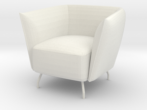 Miniature 1:12 Arcmchair in White Natural Versatile Plastic: 1:12