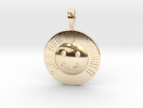 Smile Your Way Through It Coin Pendant in 14k Gold Plated Brass