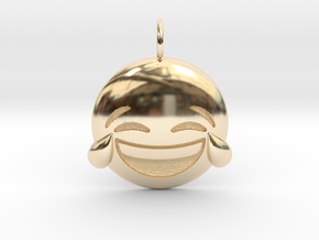 Laughing Emoji necklace in 14K Yellow Gold