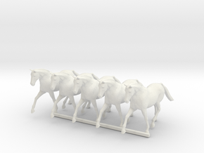 HO Scale Trotting Horses in White Natural Versatile Plastic