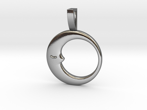 Sleeping Moon Circle Pendant in Polished Silver