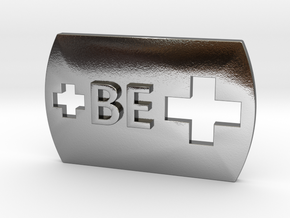 Be Positive BE + Dog Tag in Polished Silver