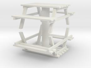 Park Picnic Bench (x2) 1/56 in White Natural Versatile Plastic