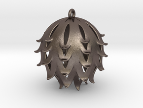 Pierced Thistle Ball in Polished Bronzed Silver Steel