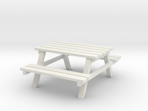 Park Picnic Bench 1/12 in White Natural Versatile Plastic