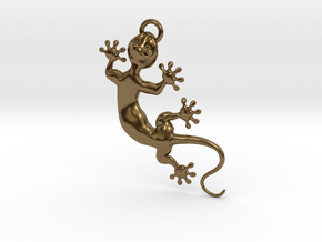 Cute Little Gecko Pendant for Animal Lovers in Polished Bronze