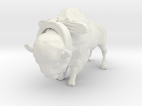 O Scale Bison with Harness in White Natural Versatile Plastic