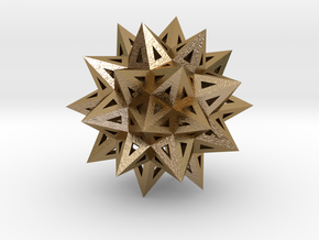 "Stellated Truncated Icosahedron 2.2"" in Polished Gold Steel"