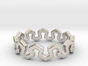 Crown Ring _ A in Rhodium Plated Brass: 8 / 56.75