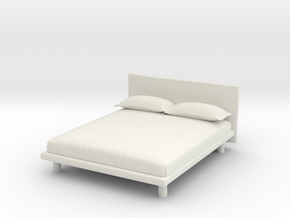 Modern Miniature 1:24 Bed in White Natural Versatile Plastic: 1:24